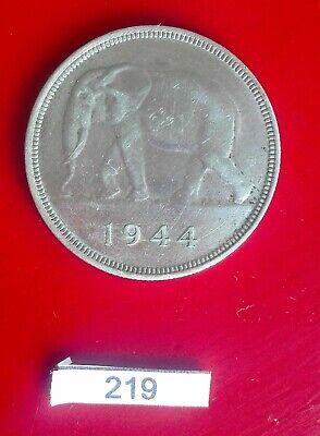 Congo belge Léopold III 1944 50 Francs Argent Eléphant