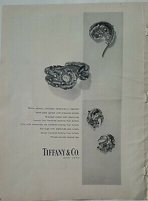 1957 Tiffany & Company feathered gold watch earrings pin brooch vintage ad