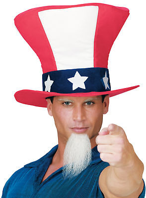 Uncle Sam Adult Hat With Beard Costume Funworld Headpiece Patriotic Halloween - Halloween Costumes For Men With Beard