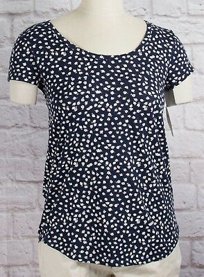 NWT Womens GAP Short Sleeve Easy Scoop Neck T-Shirt Navy w/Floral Print - 802475