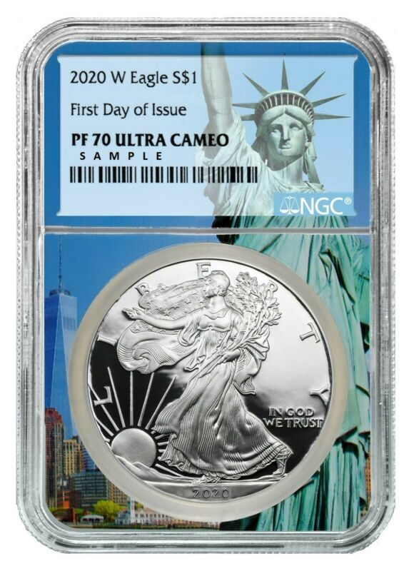 2020 W Silver Eagle Proof NGC PF70 Ultra Cameo - First Day Statue Liberty Core