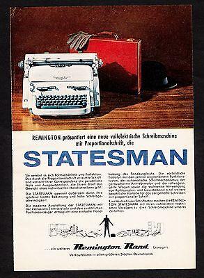 """3w1423/ Alte Reklame von 1959 - Schreibmaschine REMINGTON """"Statesman"""""""