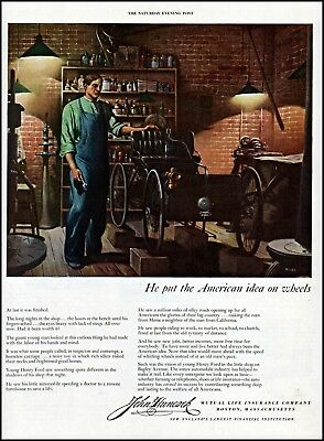 1949 young Henry Ford John car Hancock insurance vintage art Print Ad adL42