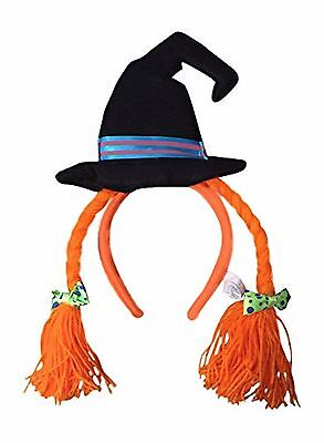 Wicked Witch Halloween Hat Headwear Headband with Bows and Yarn Hair Orange NEW](Witch Hat With Hair)