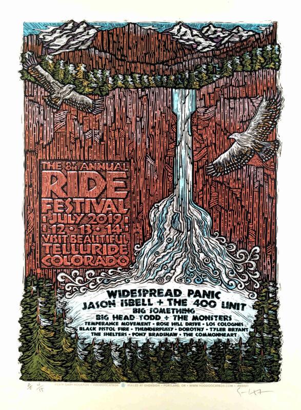 Ride Festival Poster 2019 Original Signed Silkscreen Gary Houston w/COA