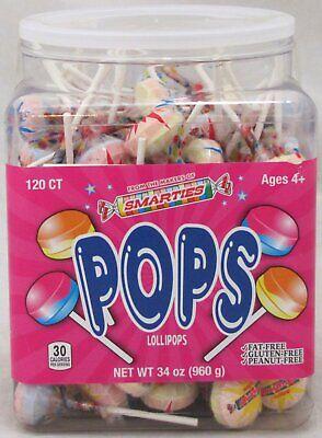 Smarties Lollipops (Smarties Double Lollies Pops Candy 120 Ct Tub Suckers Lollipops Bulk OVER 2)