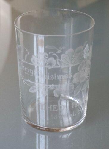 10/25.   Pre-Prohibition Merry Christmas Glass, Theo. Hanson Howard South Dakota