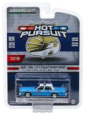 1:64 GreenLight *HOT PURSUIT 32* NYPD 1990 Chevrolet Caprice Police Car -