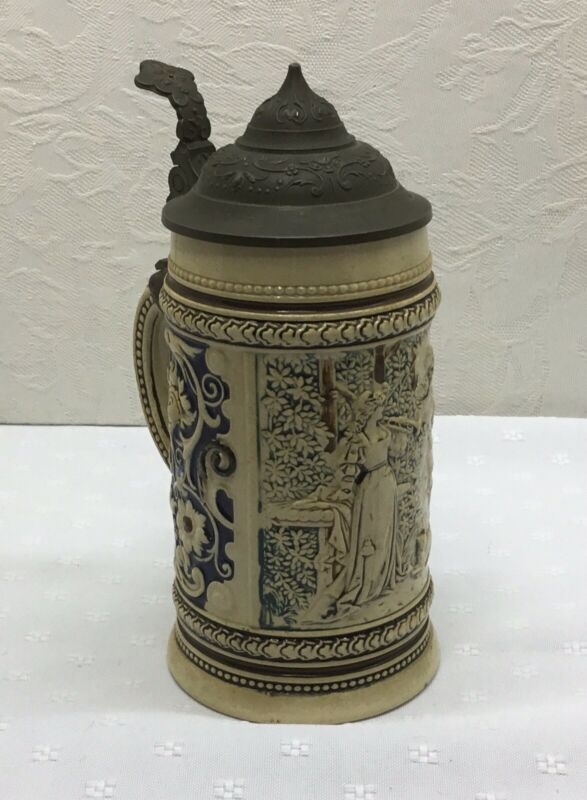 "VINTAGE GERMAN LIDDED STEIN - 1/4L - Marked 1525 19, 6"" Height - Couple In Woods"