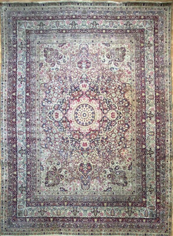 Fantastic Floral - 1880s Antique Oriental Rug - Handmade Carpets - 10.4 X 13.6