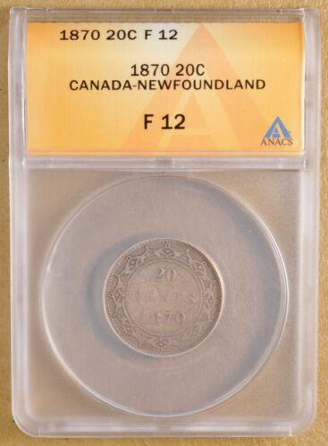 1870 Canada Newfoundland Silver 20 Cents ANACS F 12