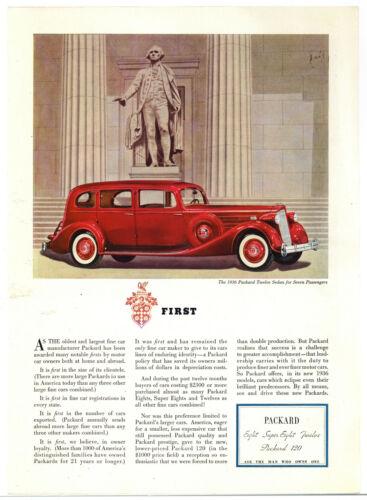 1936 Packard Twelve Sedan Auto Ad: FIRST! - w/ George Washington Statue