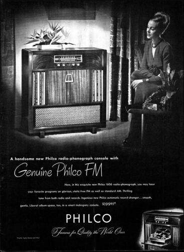1948 Elegant woman listening to Philco FM Radio Phono vintage photo print ad L19