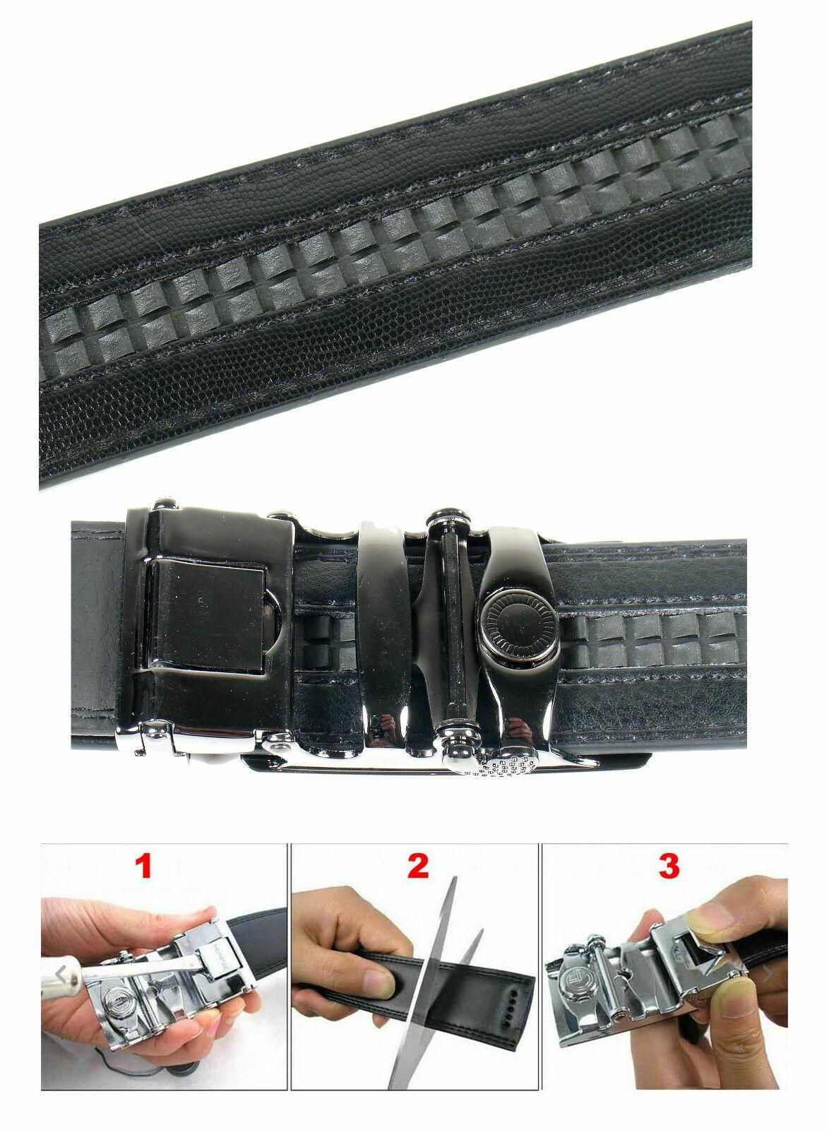 Men Automatic Ratchet Click Lock Black Belt AUDI Buckle Genuine Leather Style Belts