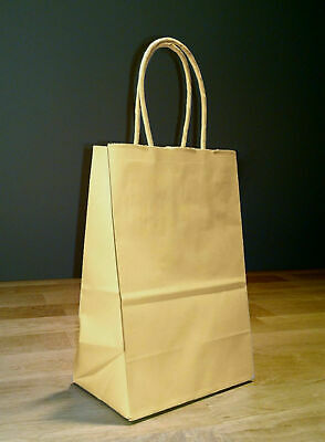 Paper Shopping Bags With Handles (5.25 x 3.25 x 8.5 Small Kraft Brown Paper Shopping Gift Bags with Rope)