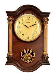 Antique Linseng Wooden Pendulum Brown Wall Clock