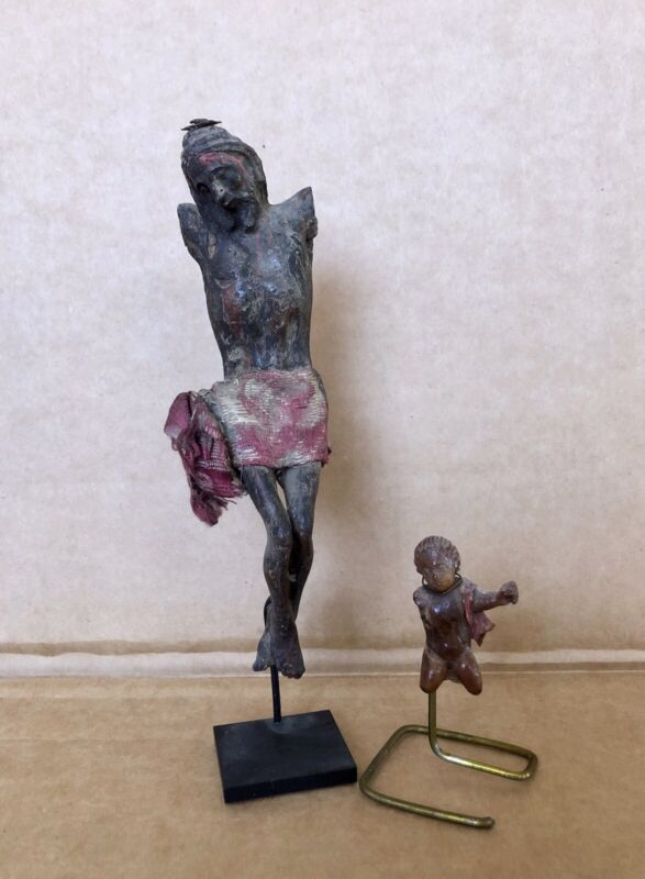 18th Century Corpus Christo Carving With Putto, Christ, Original Paint