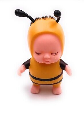Puppe Baby im Bienenkostüm gelb schwarz Schlüsselanhänger Anhänger