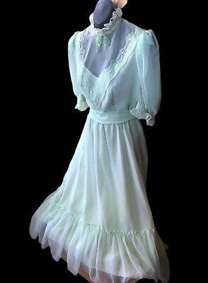 VTG Prairie Victorian Sheer Mint Lace Embroidered Gunne Sax Era Prom Dress 9/10