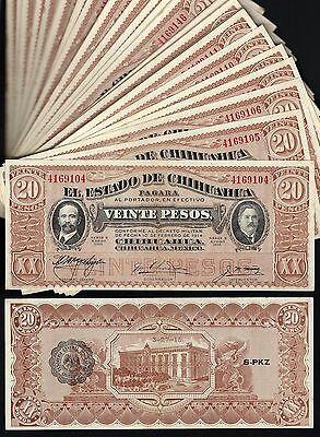 #0282: ESTADO DE CHIHUAHUA 20 PESOS (PANCHO VILLA CURRENCY) * CH UNC *