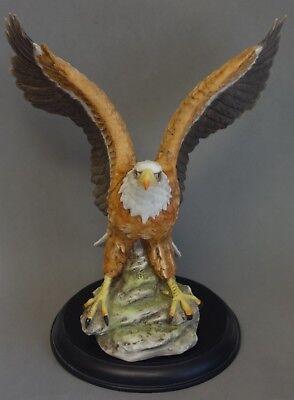 Large Eagle Bird Figurine Bill Barrett House Of Global Art Porcelain Wood Base