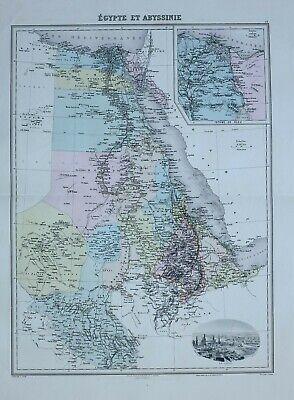 1890 HAND COLOURED MAP EGYPT & ABYSSINIA SUEZ CANAL VIGNETTE CAIRO KAFFA TIGRE segunda mano  Embacar hacia Argentina
