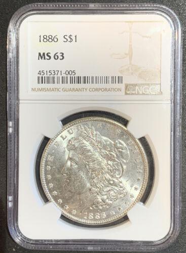 1886 Morgan Silver Dollar NGC MS63 - $59.00