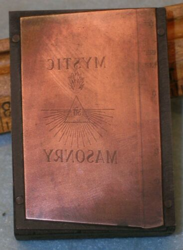 Antique MYSTIC MASONRY by J D Buck Masonic Book Copper Printing Block F211