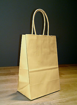 100 Small Kraft Brown Paper Shopping Gift Bag with rope handles 5.5 x 3.25 x 8.5 - Brown Paper Bags With Handles