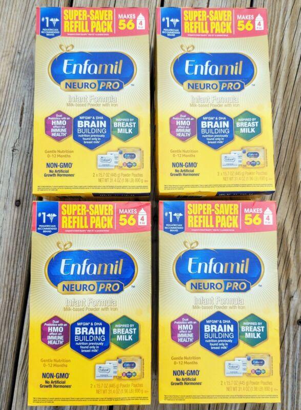 4 (31.4 oz) BOXES Enfamil Neuro Pro Infant (8) 15.7 oz Powder Pouches 9/22