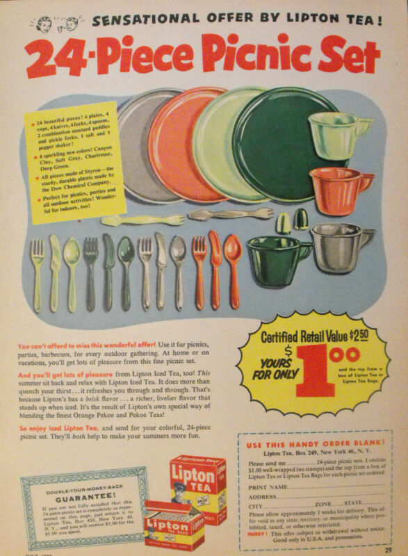 1953 Lipton Tea Bags 24-Piece Picnic Set Vintage Kitchen Memorabilia Print AD