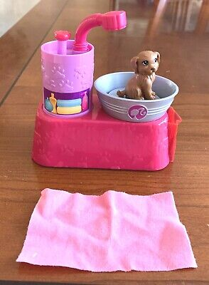 Mattel Barbie Suds & Hugs Pet Puppy Dog Wash Tub Station With Dog And Towel