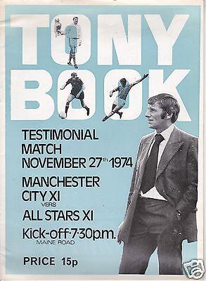 MANCHESTER CITY X1 V ALL STARS X1 TONY BOOK TESTIMONIAL MATCH   27/11/74