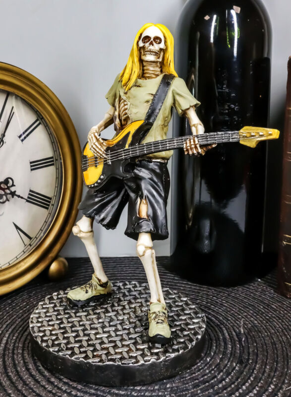 Day Of The Dead Skeleton Bass Player Figurine Rock Band From Hell Underworld