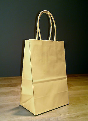100 5x3x8 Small Kraft Brown Paper Shopping Gift Bags with rope handles - Brown Paper Bags With Handles