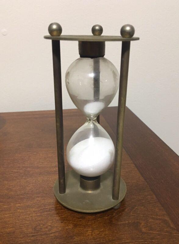 Vintage Brass 15 Minute  White Sand Timer