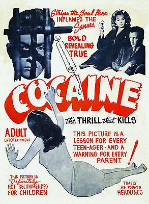 Cocaine by Vintage Vices Movie Film Drug Print Poster 16x24