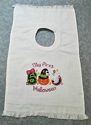 Embroidered First Halloween Boo on a  Large Pullover Towel Infant Baby Bib NEW