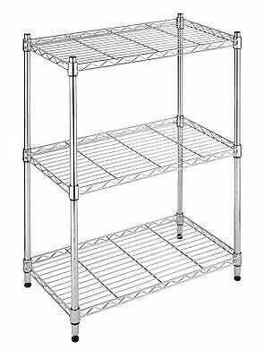 Whitmor Supreme Adjustable 3-Tier Shelving Chrome Durable Steel Construction NEW