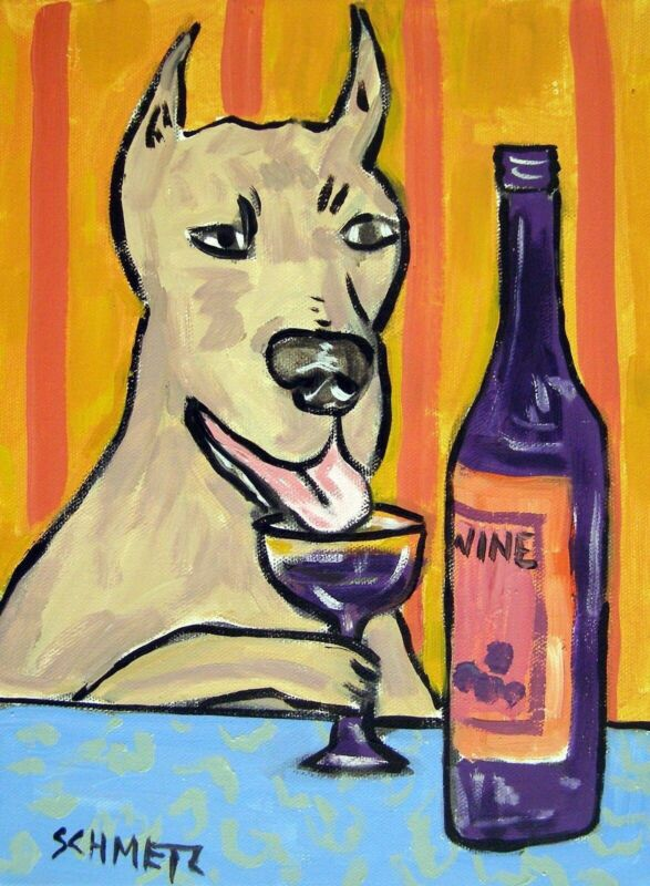 GREAT DANE dog wine art PRINT gift new JSCHMETZ