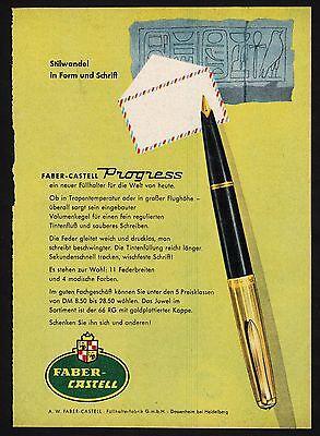 3w1651/ Alte Reklame von 1960 - Füllhalter von FABER-CASTELL - Dossenheim
