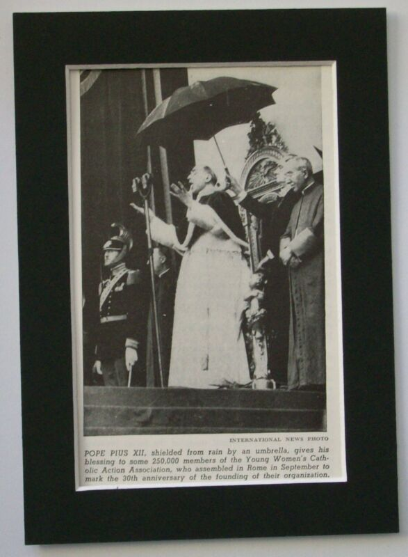 Print 1948 Pope Pius XII 30 Anniv Yng Women Catholic Act Assoc Bookplate Matted