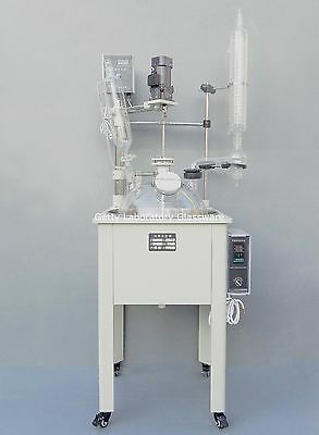 10l Single-deck Chemical Reactor Glass Chemistry Reaction Vessel W Water Bath