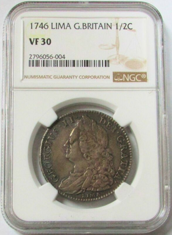 1746 LIMA SILVER GREAT BRITAIN CROWN KING GEORGE II COIN NGC VERY FINE 30
