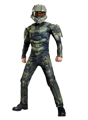 Halo Master Chief Muscle Halloween Costume Child Boy Kid S M - Children's Master Chief Costume
