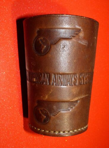 Vtg Pan American Airways System Airlines Flying Boat Clipper Leather Dice Cup