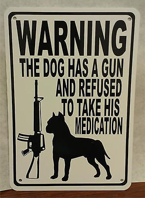 "Warning Pit Bull Dog Gun Bullet Protection AR 15 7""X10"" Man Cave Plastic Sign"