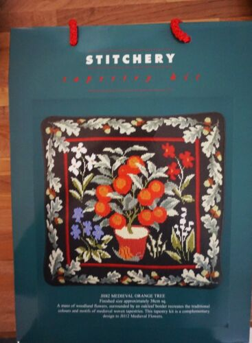 Stitchery Tapestry Needlepoint Kit Medieval Orange Tree Pillow NEW England
