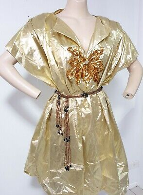 80s Dresses | Casual to Party Dresses 1980s Gold Lame Party Dress Sequinned Butterfly Applique Plus Size 14 16 L XL $58.52 AT vintagedancer.com