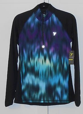 WOMEN'S OLD NAVY ACTIVE BLACK PRINT GO-DRY 1/4-ZIP PULLOVER - SIZE SMALL